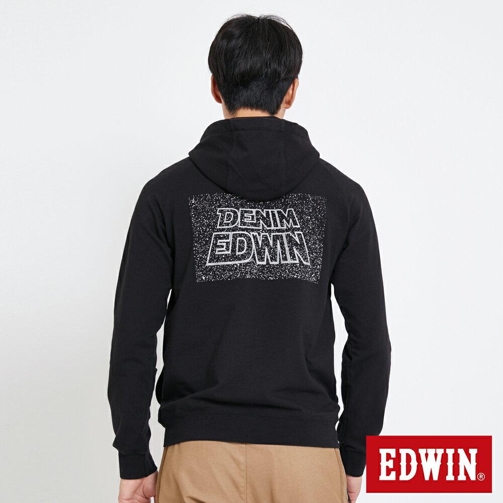EDWIN 太空LOGO 連帽長袖T恤-男款 黑色 SPACE RACE太空競賽 1