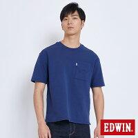 EDWIN 挺版箱型 短袖T恤-男款 丈青 BAUHAUS 包浩斯 0