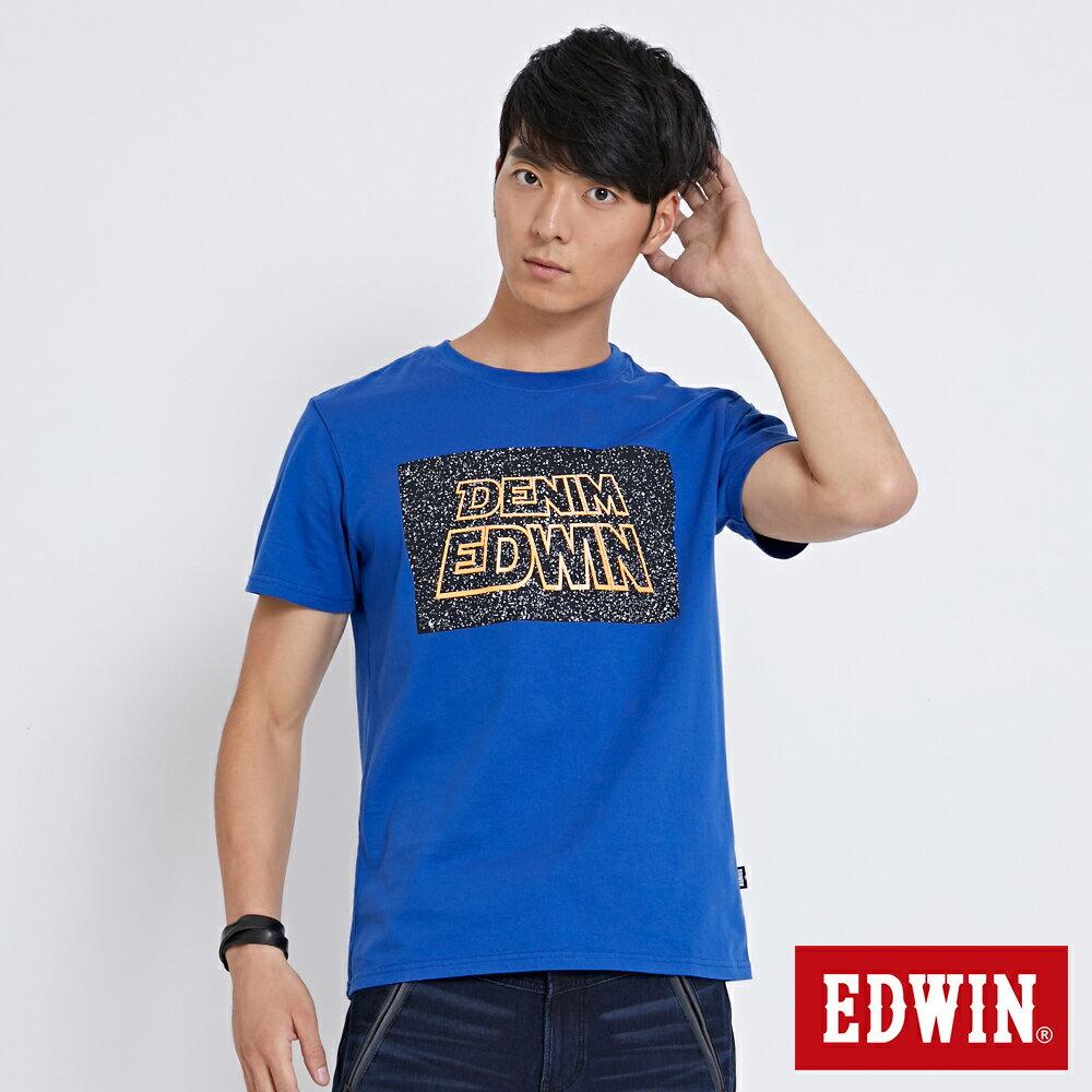 【新降5折↘】EDWIN 銀河夜光印字 短袖T恤-男款 藍色 SPACE RACE太空競賽【單筆滿5030元送限量生日T】【單筆滿5030元送限量生日T】【5月會員 消費滿3000元再賺15%點數】