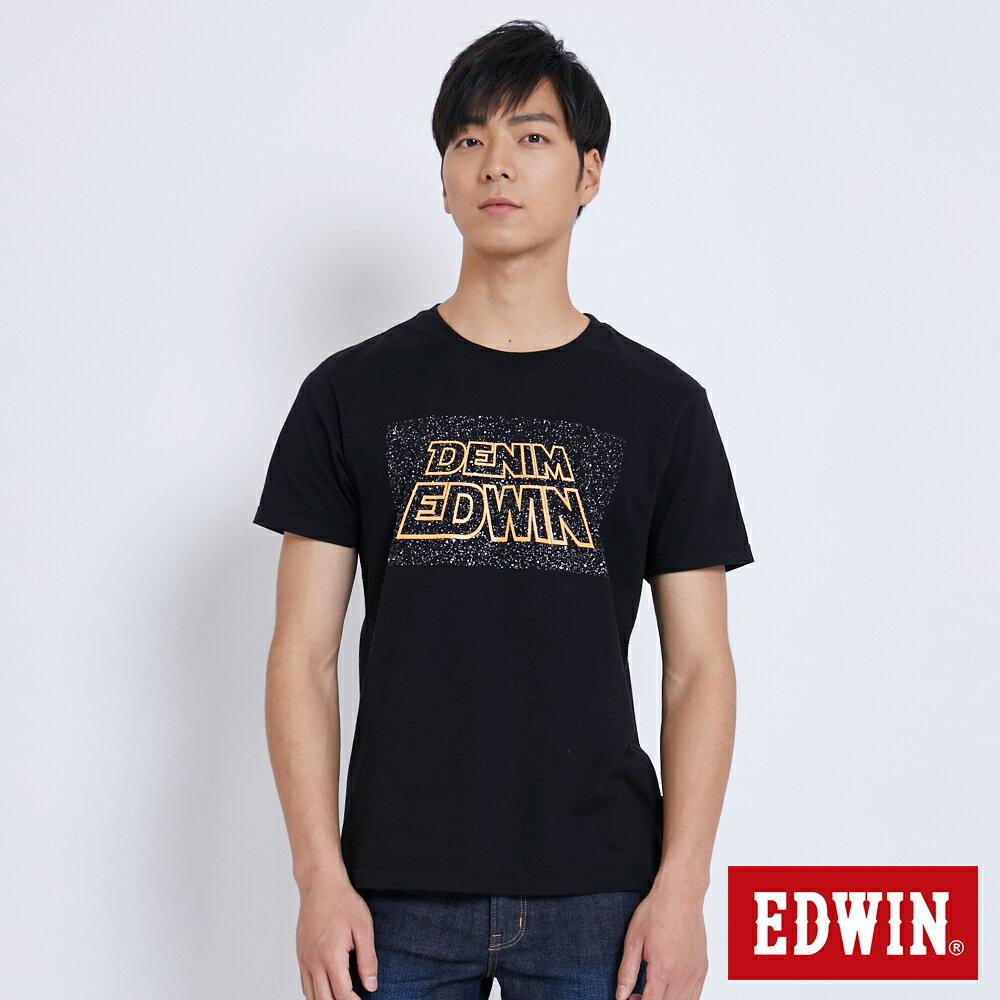 【新降5折↘】EDWIN 銀河夜光印字 短袖T恤-男款 黑色 SPACE RACE太空競賽【單筆滿5030元送限量生日T】【單筆滿5030元送限量生日T】【5月會員 消費滿3000元再賺15%點數】