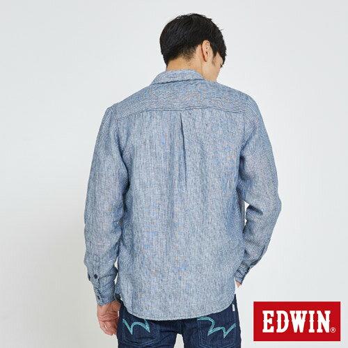 EDWIN 基本全亞麻 開襟長袖襯衫-男款 丈青 1
