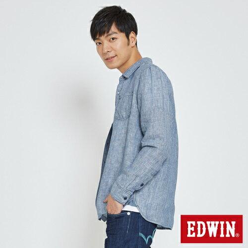 EDWIN 基本全亞麻 開襟長袖襯衫-男款 丈青 2
