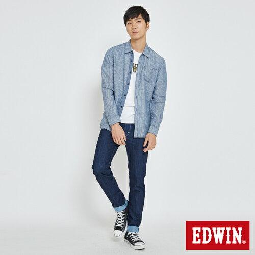 EDWIN 基本全亞麻 開襟長袖襯衫-男款 丈青 3