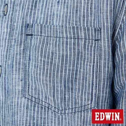 EDWIN 基本全亞麻 開襟長袖襯衫-男款 丈青 4