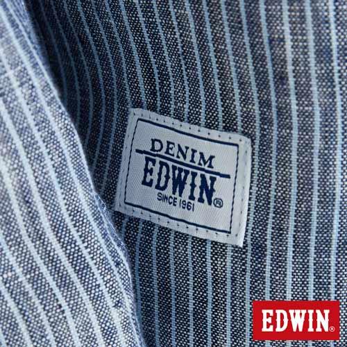 EDWIN 基本全亞麻 開襟長袖襯衫-男款 丈青 5