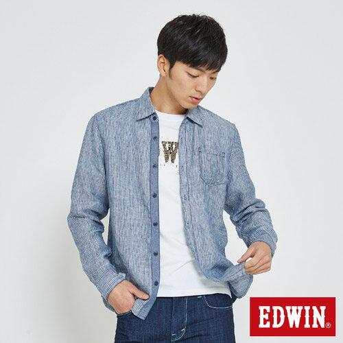 EDWIN 基本全亞麻 開襟長袖襯衫-男款 丈青 0