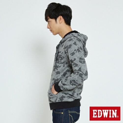 EDWIN 迷彩提織 連帽外套-男款 麻灰 2