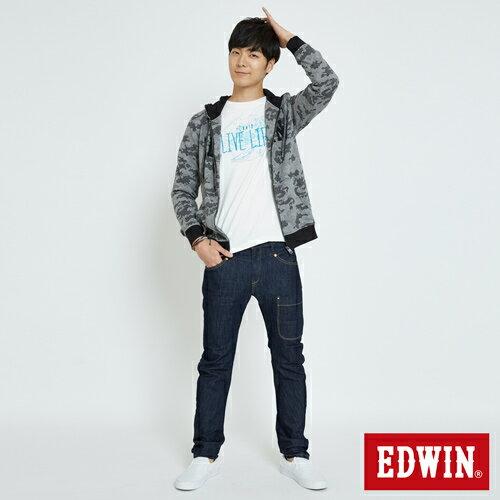 EDWIN 迷彩提織 連帽外套-男款 麻灰 3