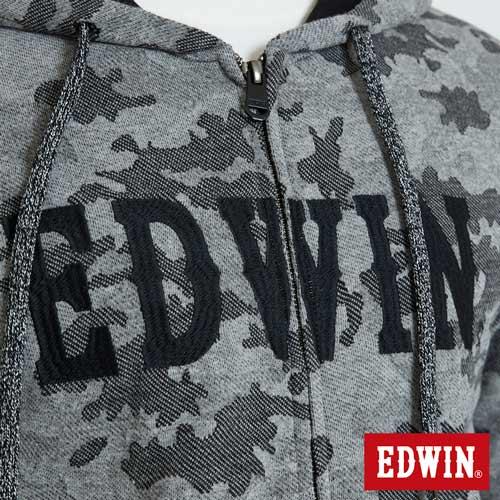 EDWIN 迷彩提織 連帽外套-男款 麻灰 4