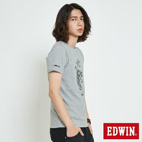 EDWIN 數碼錯位骷髏 短袖T恤-男款 麻灰 2