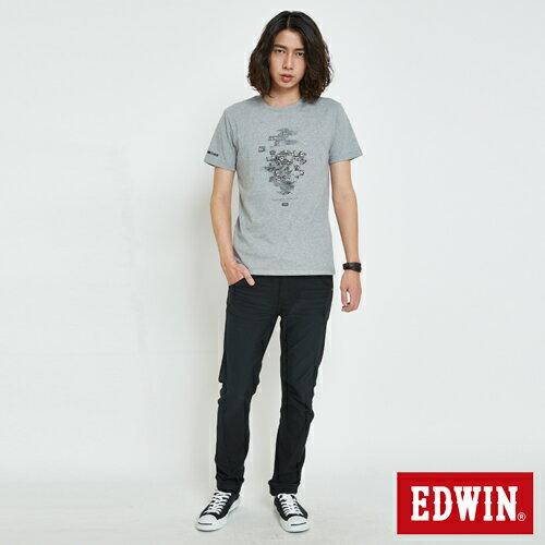 EDWIN 數碼錯位骷髏 短袖T恤-男款 麻灰 4