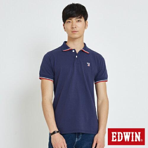 【限量5折↘】EDWIN復古小E短袖POLO衫-男款丈青【7月會員神券APP結帳