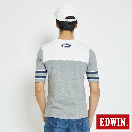 EDWIN 運動風1961數字 短袖T恤-男款 麻灰 1