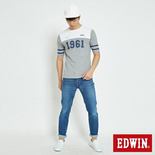 EDWIN 運動風1961數字 短袖T恤-男款 麻灰 3