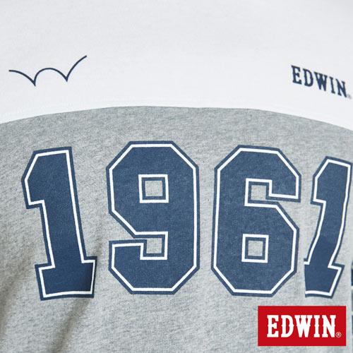 EDWIN 運動風1961數字 短袖T恤-男款 麻灰 4