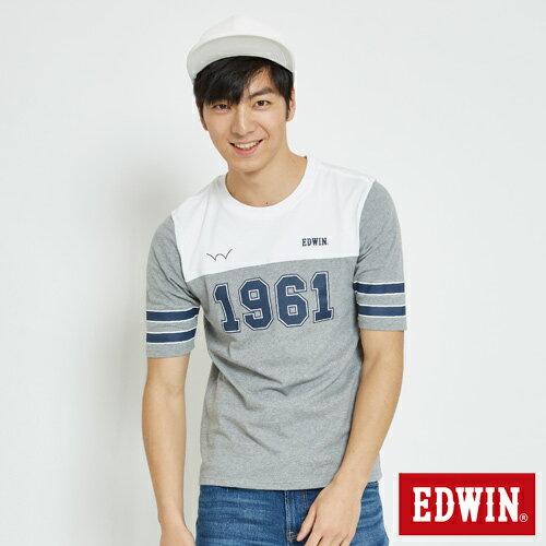 EDWIN 運動風1961數字 短袖T恤-男款 麻灰 0
