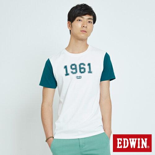 【限量5折↘】EDWIN1961立體印花短袖T恤-男款白色【7月會員神券APP結帳