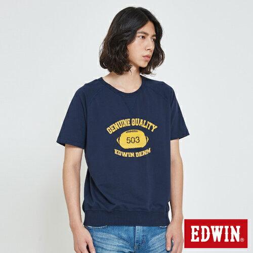 【換季折扣。1件8折,2件以上7折↘】EDWIN 學院風印圖寬版 大學T恤-男款 丈青【單件8折於訂單成立後調整折扣/ 不會立即變更↘】