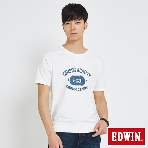 【換季折扣。1件8折,2件以上7折↘】EDWIN 學院風印圖寬版 大學T恤-男款 白色【單件8折於訂單成立後調整折扣/ 不會立即變更↘】