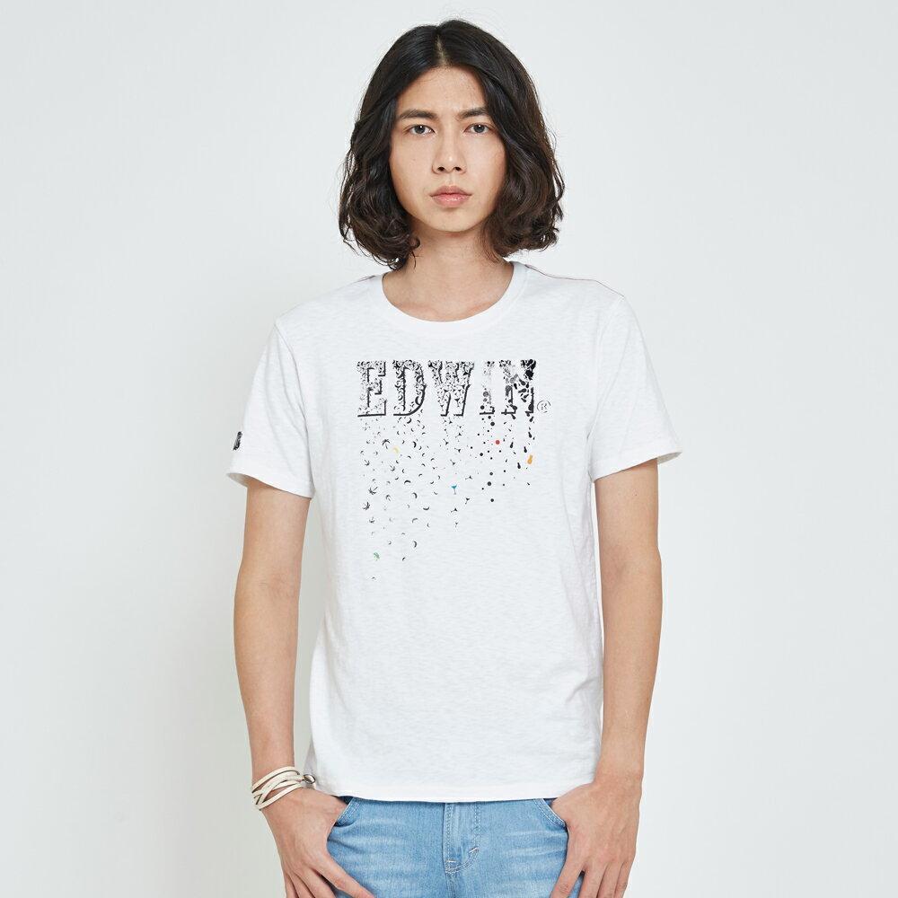 EDWIN 夏日風情LOGO 短袖T恤-男款 白色 1