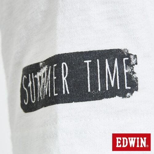 EDWIN 夏日風情LOGO 短袖T恤-男款 白色 7