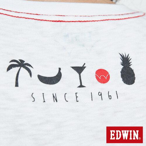 EDWIN 夏日風情LOGO 短袖T恤-男款 白色 8