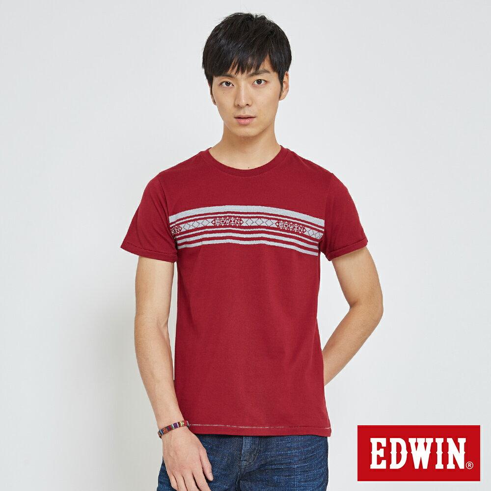 EDWIN 迦績織紋印條 短袖T恤-男款 暗紅