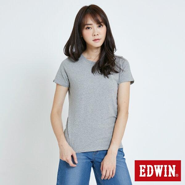 【新品上市↘】EDWIN基本WLOGO短袖T恤-女款麻灰