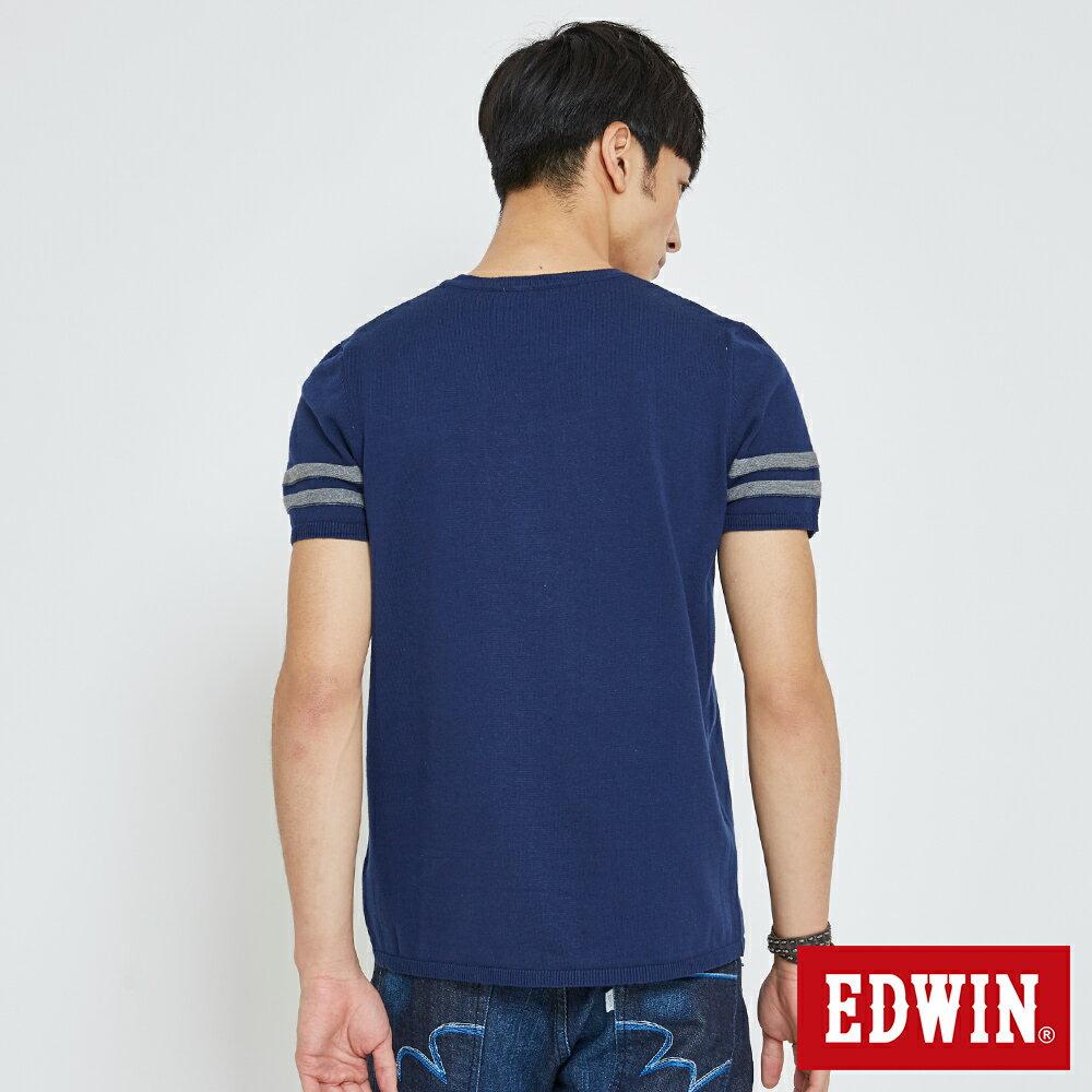 【APP領券9折】EDWIN 立體53壓印 短袖線衫-男款 丈青 2