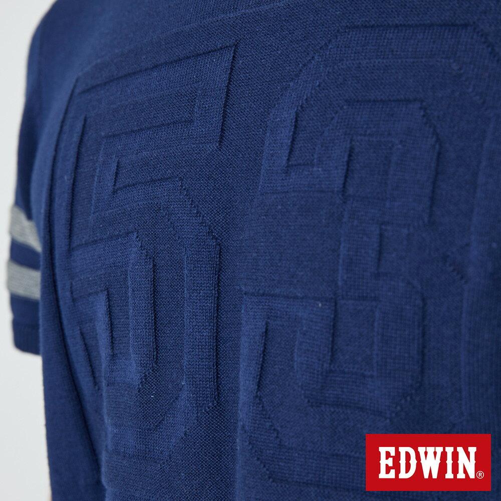 【APP領券9折】EDWIN 立體53壓印 短袖線衫-男款 丈青 5