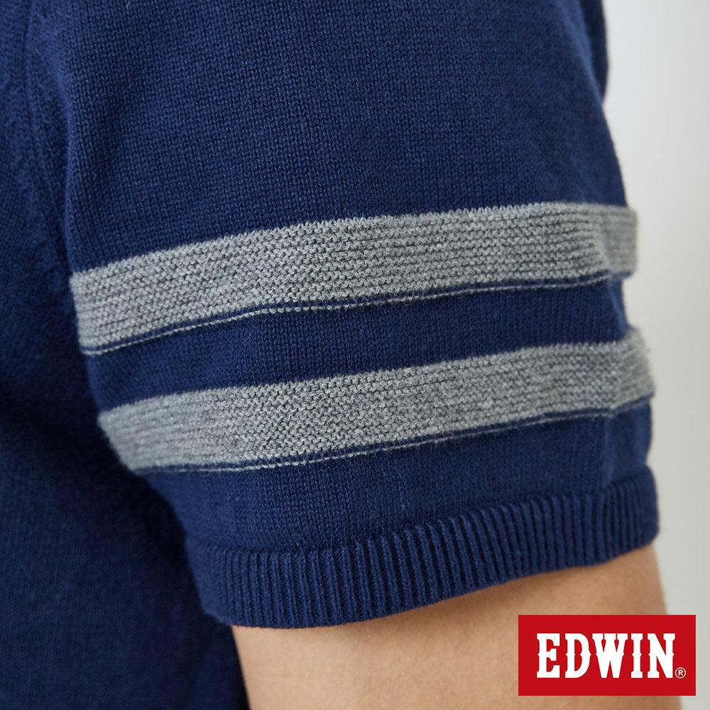 【APP領券9折】EDWIN 立體53壓印 短袖線衫-男款 丈青 6
