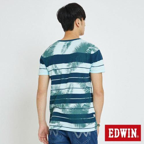 EDWIN 夏日條紋 短袖線衫(椰林倒影) -男款 藍綠 1