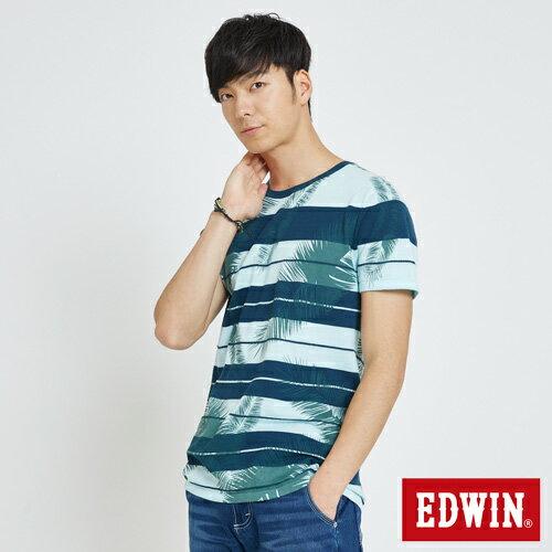 EDWIN 夏日條紋 短袖線衫(椰林倒影) -男款 藍綠 2