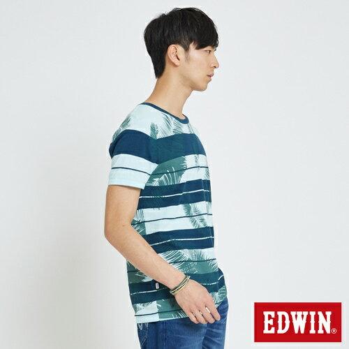 EDWIN 夏日條紋 短袖線衫(椰林倒影) -男款 藍綠 3