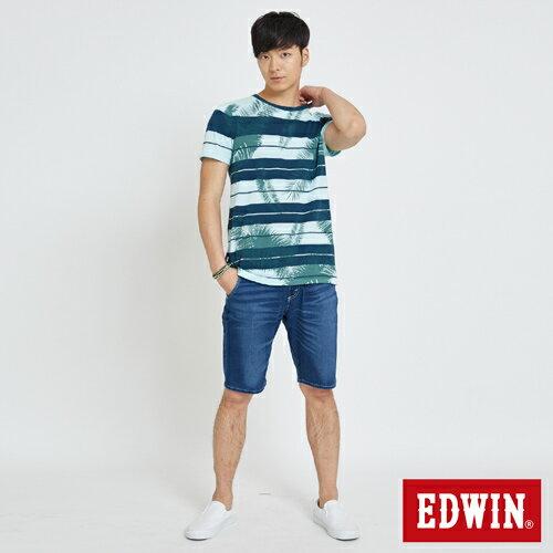 EDWIN 夏日條紋 短袖線衫(椰林倒影) -男款 藍綠 4