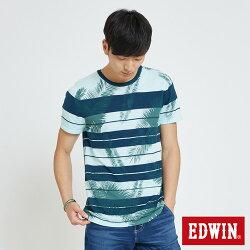 EDWIN 夏日條紋 短袖線衫(椰林倒影) -男款 藍綠