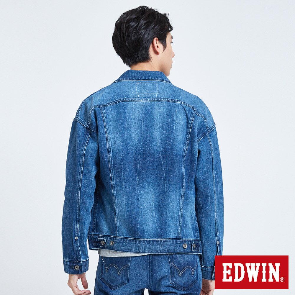 新品↘EDWIN 基本款落肩 牛仔外套-男款 拔洗藍 2