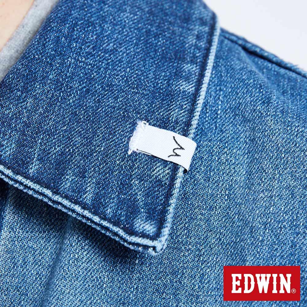 新品↘EDWIN 基本款落肩 牛仔外套-男款 拔洗藍 6