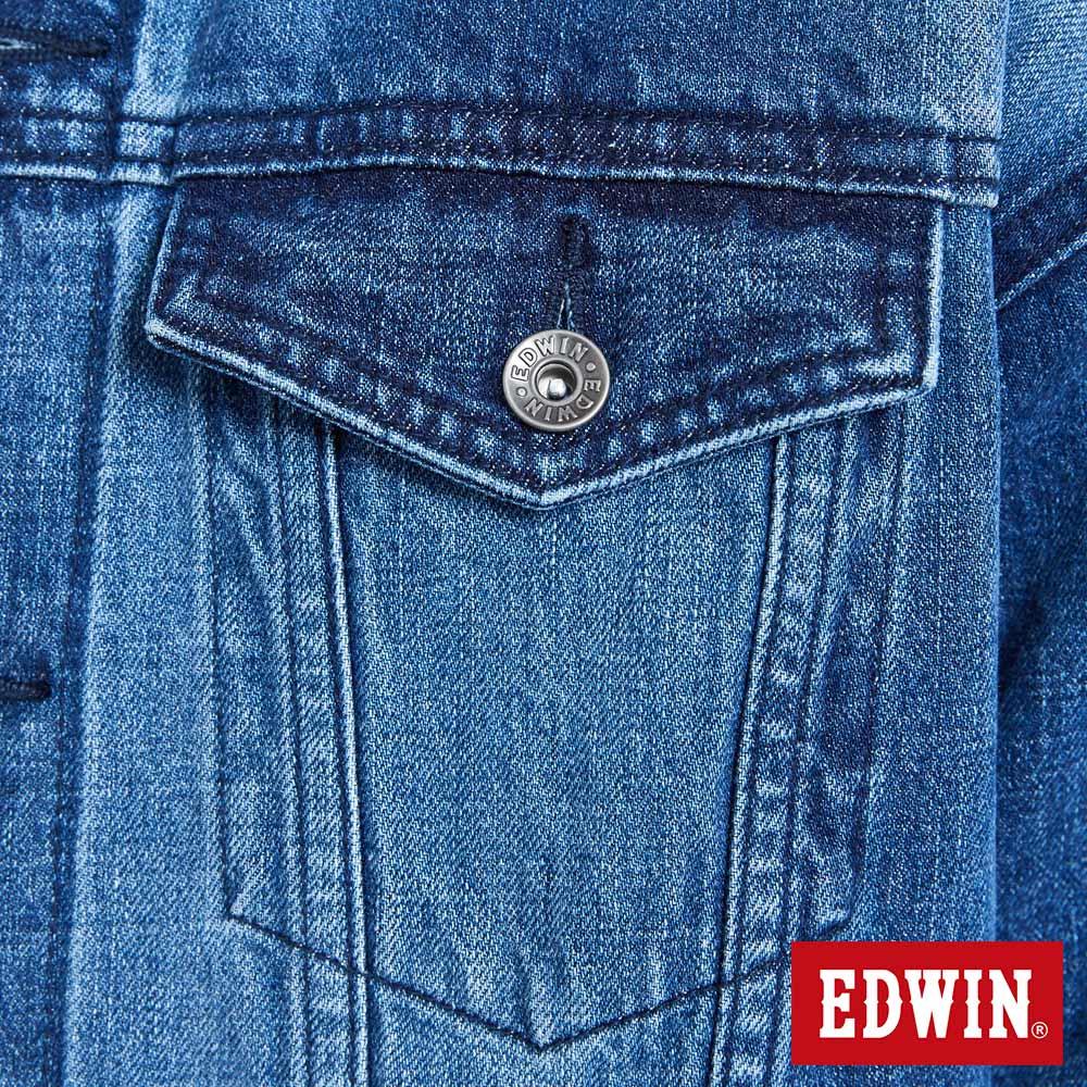 新品↘EDWIN 基本款落肩 牛仔外套-男款 拔洗藍 7