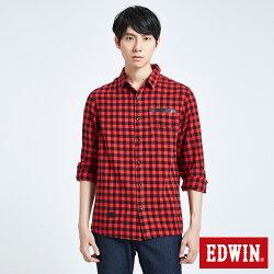 新品↘EDWIN 英式搖滾 長版格紋襯衫-男款 紅色