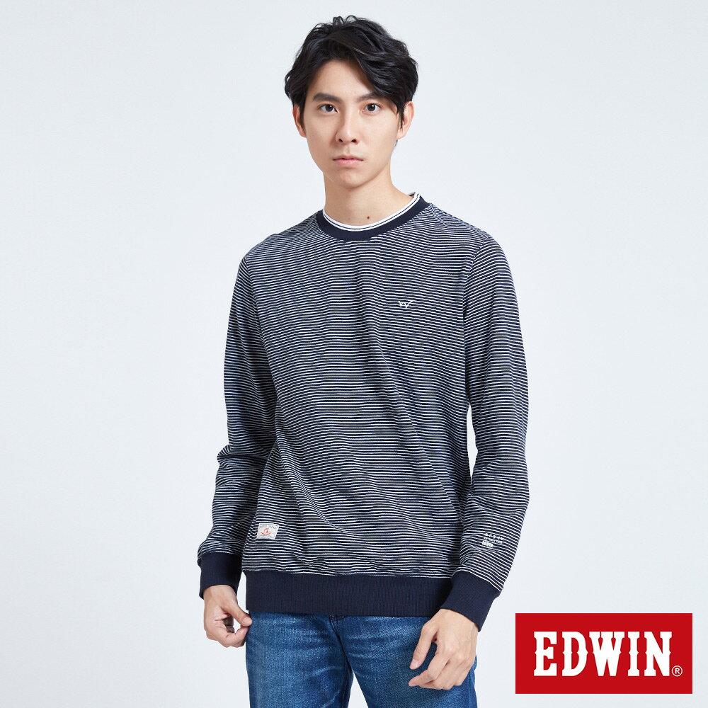 EDWIN 仿布邊羅紋領條紋 長袖T恤-男款 丈青 衛衣