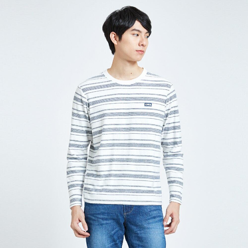 EDWIN 職人反面配條 薄長袖T恤-男款 米白色 1