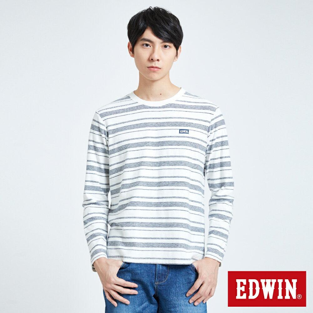 EDWIN 職人反面配條 薄長袖T恤-男款 米白色 0