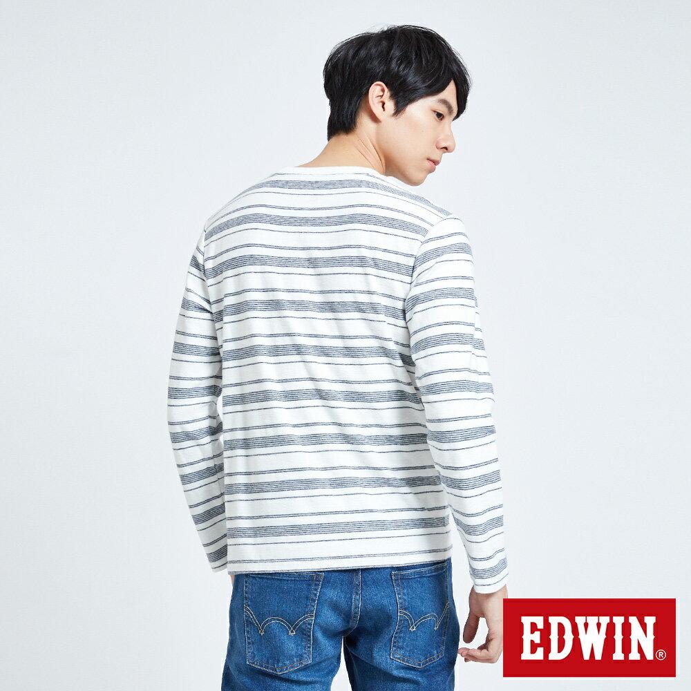 EDWIN 職人反面配條 薄長袖T恤-男款 米白色 2