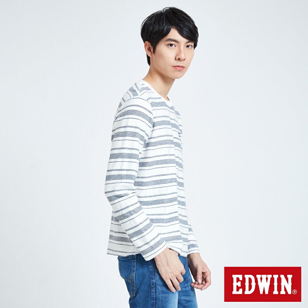 EDWIN 職人反面配條 薄長袖T恤-男款 米白色 3