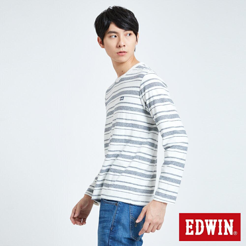 EDWIN 職人反面配條 薄長袖T恤-男款 米白色 4