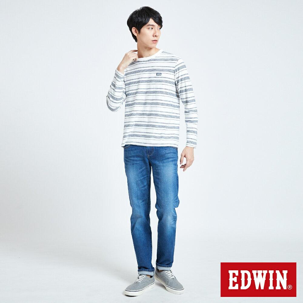 EDWIN 職人反面配條 薄長袖T恤-男款 米白色 5