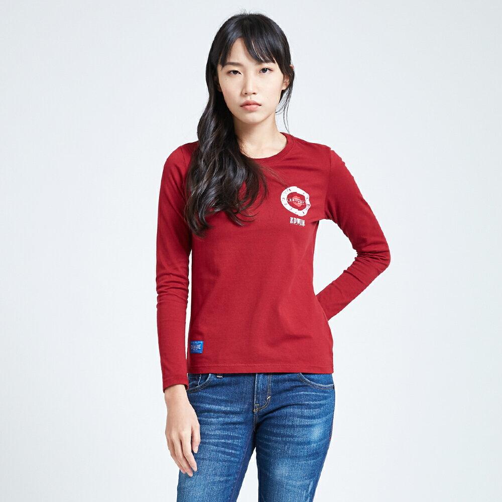 EDWIN MODS標靶紅心 薄長袖T恤-女款 紅色 1