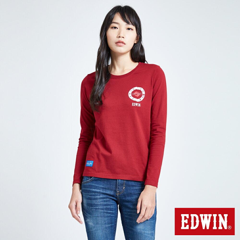 EDWIN MODS標靶紅心 薄長袖T恤-女款 紅色 0