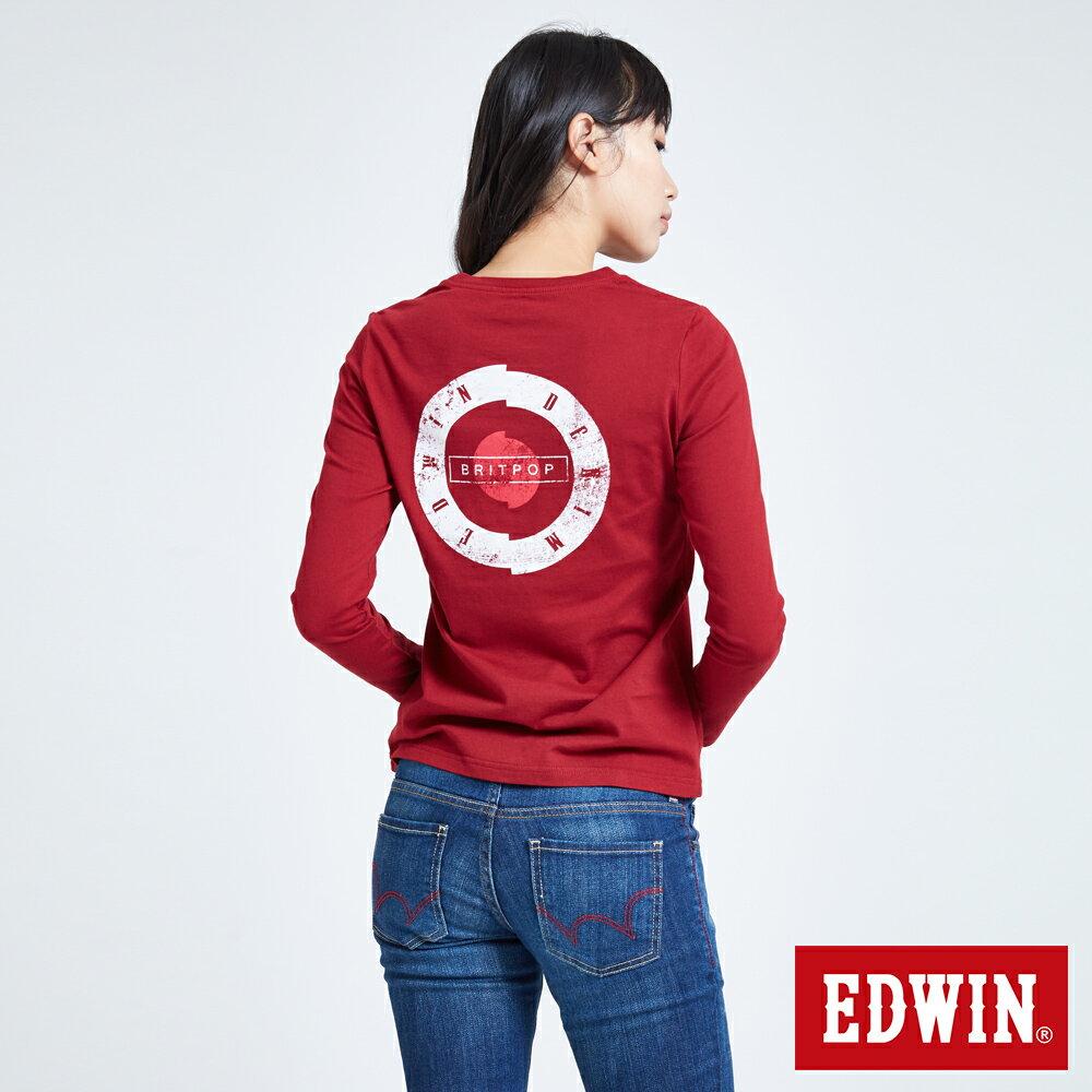 EDWIN MODS標靶紅心 薄長袖T恤-女款 紅色 2